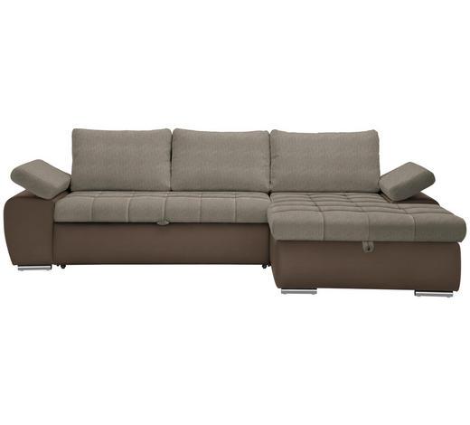 WOHNLANDSCHAFT in Textil Braun, Hellbraun  - Hellbraun/Braun, Design, Kunststoff/Textil (271/175cm) - Xora