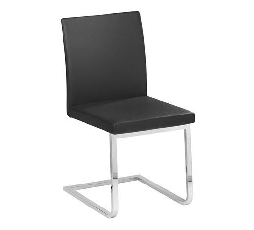 SCHWINGSTUHL in Metall, Leder Schwarz, Chromfarben - Chromfarben/Schwarz, Design, Leder/Metall (48/87/54cm) - Bacher