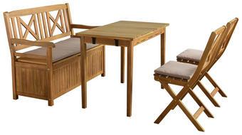 GARTENSET  7-teilig - Taupe/Akaziefarben, Design, Holz/Textil - Ambia Garden