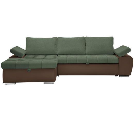 WOHNLANDSCHAFT in Textil Braun, Grün  - Braun/Nickelfarben, Design, Kunststoff/Textil (175/271cm) - Xora