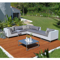 LOUNGE SREDNJI DIO - bijela/siva, Design, metal/tekstil (88/70,5/87,5cm) - Ambia Garden