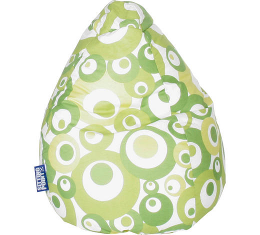 SITZSACK in Textil Grün, Weiß  - Weiß/Grün, Design, Textil (110/70cm) - Carryhome