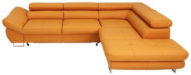 Ecksofa Echtleder Bettkasten - Chromfarben/Gelb, Design, Leder (280/235cm) - Voleo