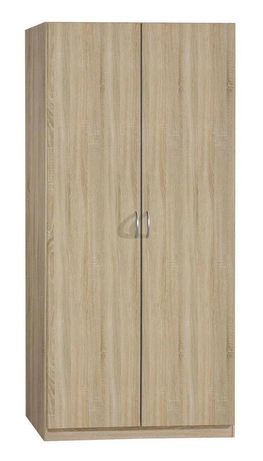 DREHTÜRENSCHRANK 2-türig Sonoma Eiche - Silberfarben/Sonoma Eiche, Design, Holzwerkstoff/Kunststoff (91/197/54cm) - Carryhome