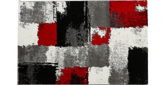 Webteppich Grau/Rot Saphira 120x170 cm - Rot/Grau, KONVENTIONELL, Textil (120/170cm) - Ombra