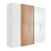 DREHTÜRENSCHRANK in Weiß, Eichefarben  - Eichefarben/Alufarben, Design, Holz/Holzwerkstoff (252/229,6/61,4cm) - Ambiente by Hülsta