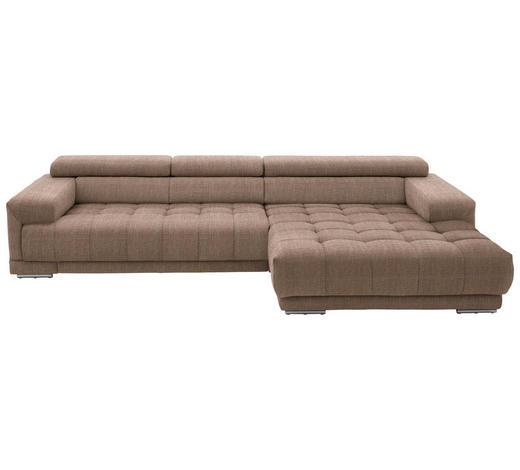 WOHNLANDSCHAFT in Textil Braun - Silberfarben/Braun, Design, Textil/Metall (335/190cm) - Beldomo Style