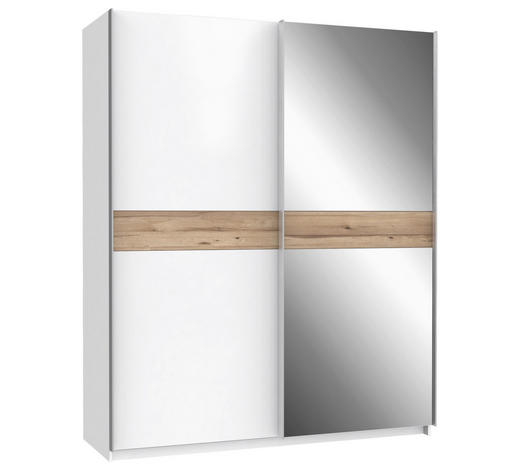 SKŘÍŇ S POSUVNÝMI DVEŘMI, 2, bílá, barvy dubu - bílá/barvy dubu, Konvenční, kov/kompozitní dřevo (170,3/210,5/61,2cm) - Xora