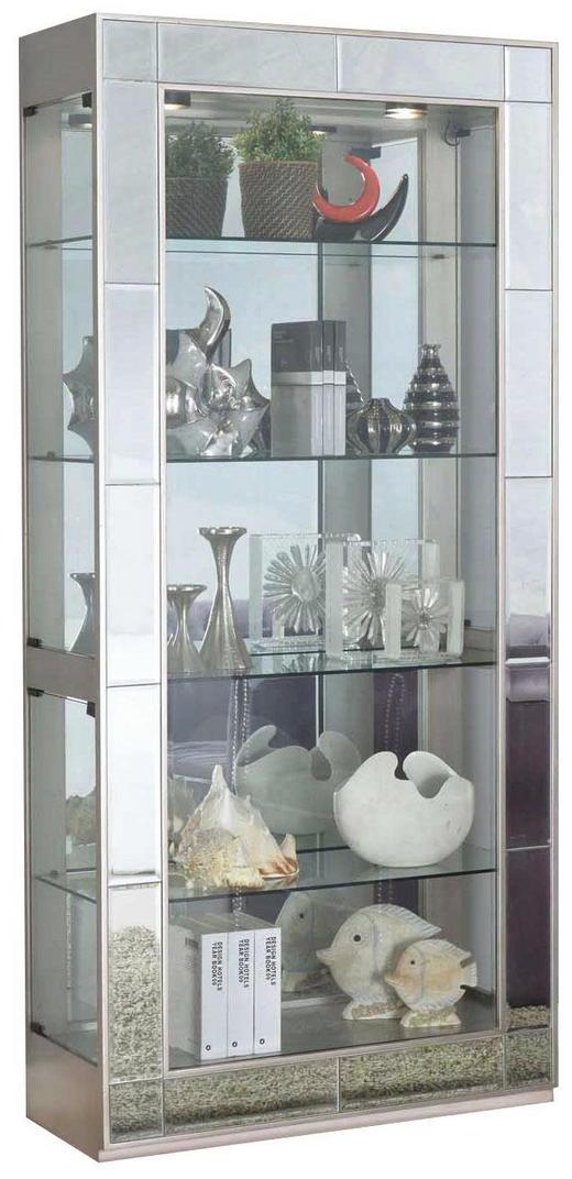 VITRINE Kautschukholz furniert, teilmassiv Silberfarben - Silberfarben/Weiß, LIFESTYLE, Glas/Holz (91/198/36cm)
