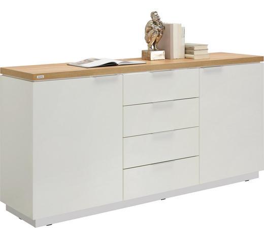 KOMMODE Hochglanz, Melamin Weiß, Eichefarben  - Eichefarben/Alufarben, Design, Holzwerkstoff (180/88,5/43cm) - Xora