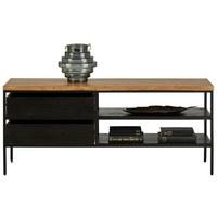 KOMODA LOWBOARD, černá, barvy akácie - černá/barvy akácie, Trend, kov/dřevo (120/50/35cm) - Ambia Home