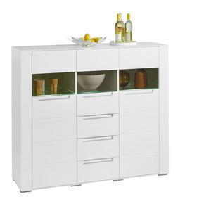 HIGHBOARD - vit/silver, Design, glas/träbaserade material (147/128/41cm) - Hom`in