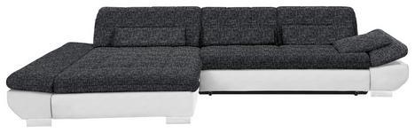 WOHNLANDSCHAFT in Anthrazit, Weiß Textil - Chromfarben/Anthrazit, Design, Kunststoff/Textil (204/341cm) - Xora