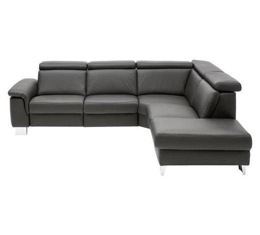 WOHNLANDSCHAFT in Leder Schwarz - Alufarben/Schwarz, Design, Leder/Metall (270/233cm) - Beldomo Premium