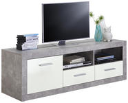 LOWBOARD Glanz Grau, Weiß  - Silberfarben/Alufarben, Design, Holzwerkstoff/Kunststoff (147/49/45cm) - Xora