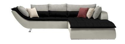WOHNLANDSCHAFT Hellgrau, Schwarz, Weiß - Chromfarben/Hellgrau, Design, Textil/Metall (300/220cm) - Hom`in