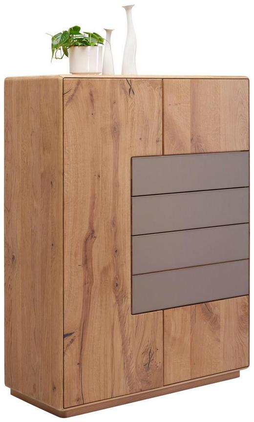 HIGHBOARD Wildeiche massiv gebürstet Eichefarben, Grau - Edelstahlfarben/Eichefarben, Design, Glas/Holz (99/134,5/44cm) - Valnatura