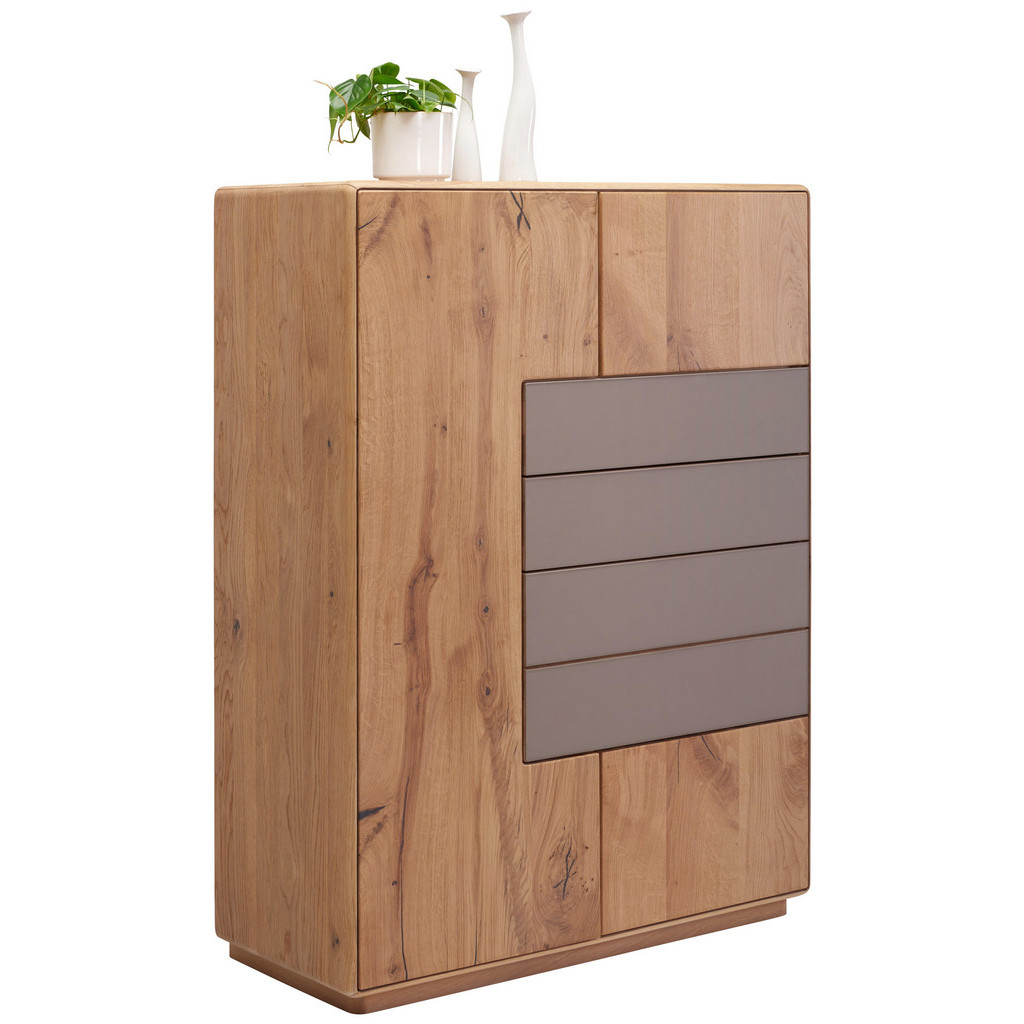 Highboard In Massiv Wildeiche Eichefarben, Grau