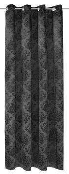 ZAVJESA S RINGOVIMA - crna, Konvencionalno, tekstil (140/245cm) - Venda