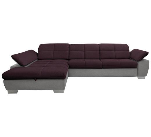 WOHNLANDSCHAFT in Textil Grau, Violett  - Chromfarben/Violett, Design, Textil/Metall (204/297cm) - Xora