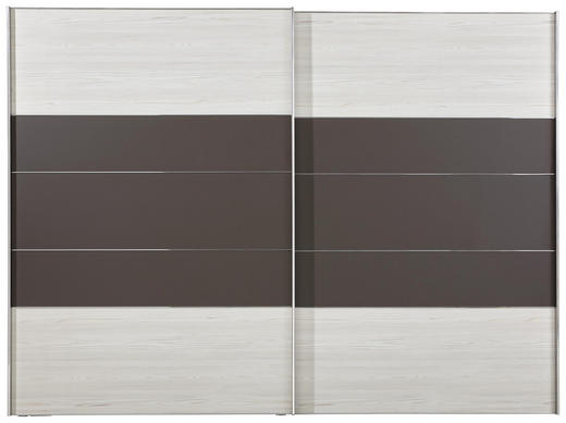 SCHWEBETÜRENSCHRANK 2-türig Braun, Lärchefarben - Lärchefarben/Alufarben, KONVENTIONELL, Holzwerkstoff (300/216/68cm) - Voleo