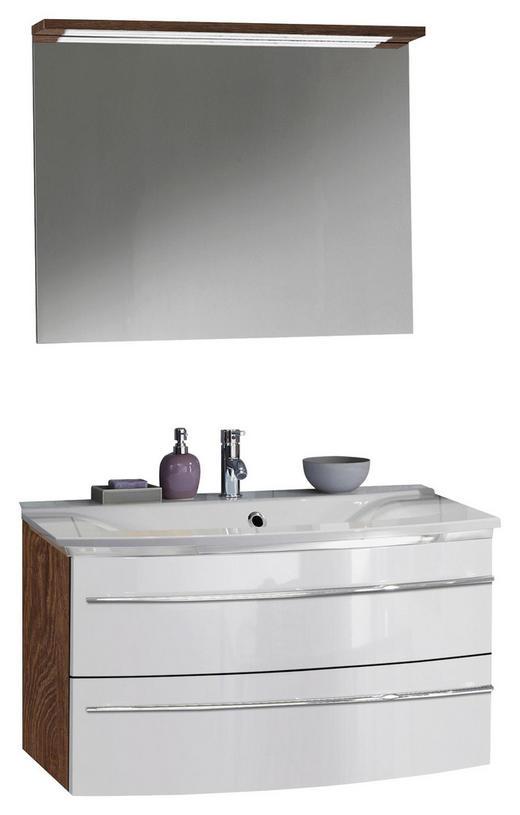 BADEZIMMER Teakfarben, Weiß - Weiß/Teakfarben, Design (92,4cm) - Welnova