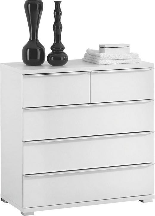 KOMMODE Weiß - Alufarben/Weiß, Design, Kunststoff (80/80/40cm) - Moderano