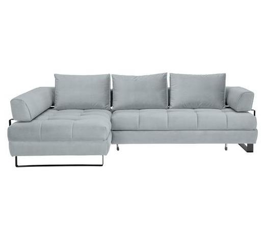 SJEDEĆA GARNITURA - crna/svijetlo plava, Design, tekstil/metal (173/272cm) - Stylife