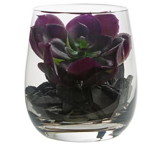 DEKOGLAS 9,7 cm - Grau, KONVENTIONELL, Glas/Kunststoff (8,40/9,70/8,40cm) - Leonardo