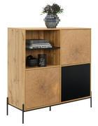 KOMODA, černá, barvy dubu - černá/barvy dubu, Design, kov/kompozitní dřevo (110/114/40cm) - Carryhome
