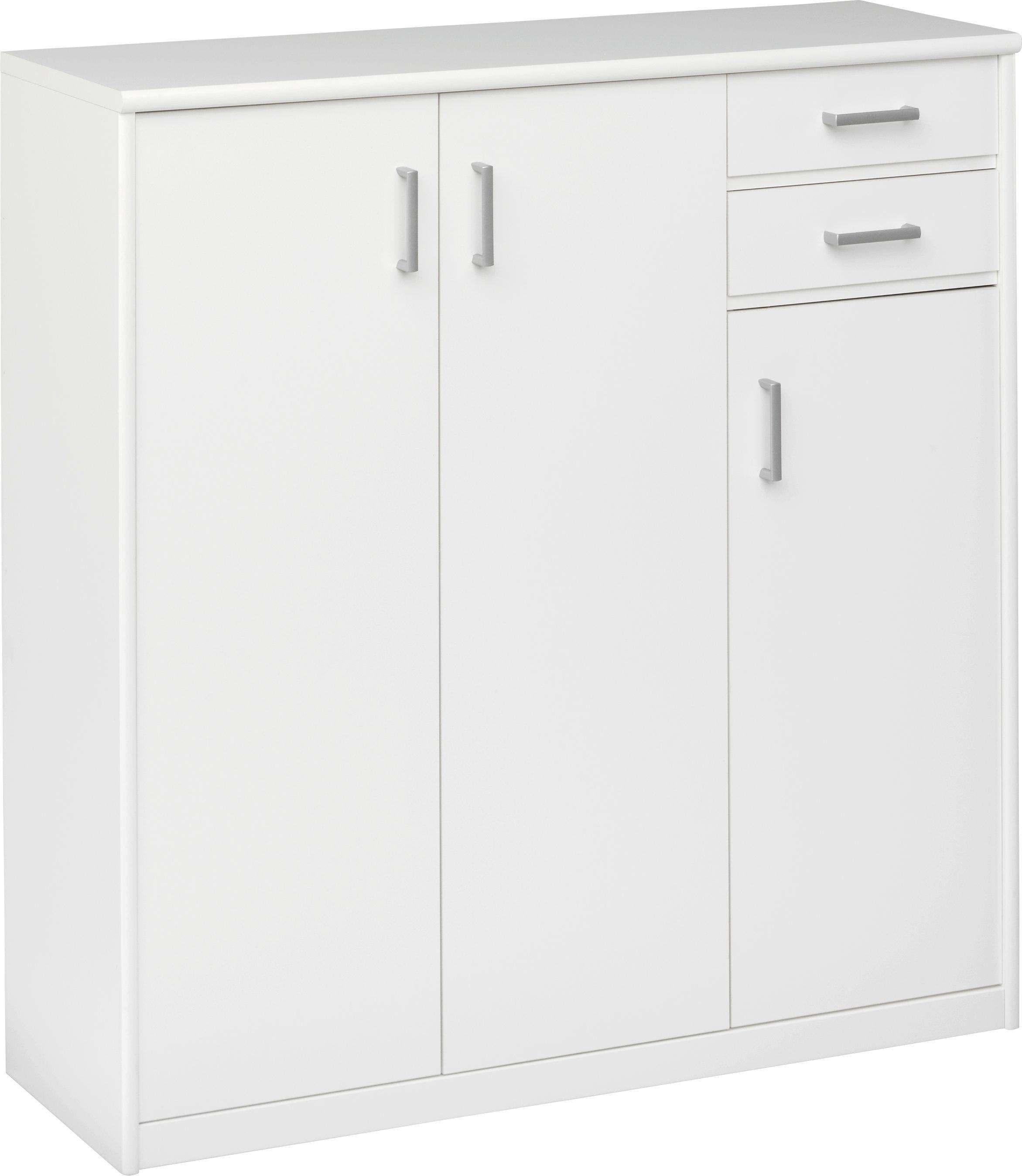 KOMODA - bijela/boje srebra, Konvencionalno, drvni materijal/plastika (106/110/36cm) - CS SCHMAL