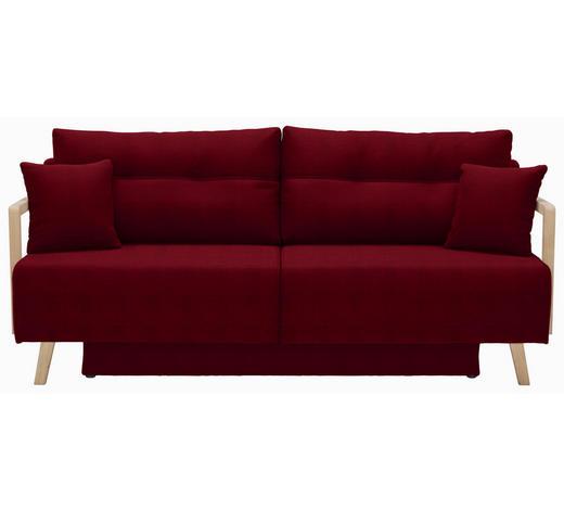 SCHLAFSOFA in Textil Eichefarben, Dunkelrot - Eichefarben/Naturfarben, KONVENTIONELL, Holz/Textil (200/92/95cm) - Venda