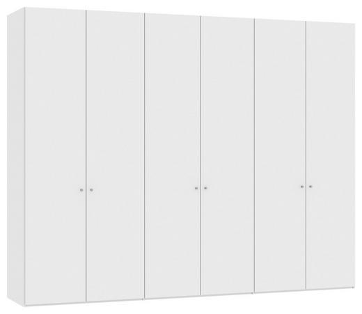 DREHTÜRENSCHRANK 6-türig Weiß - Silberfarben/Weiß, Design, Holzwerkstoff/Metall (303,1/236/58,5cm) - Jutzler
