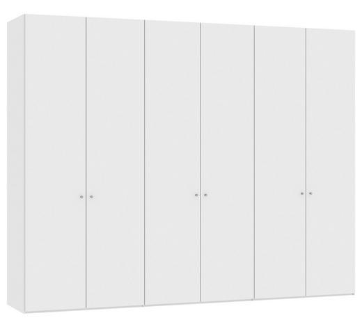 DREHTÜRENSCHRANK in Weiß - Silberfarben/Weiß, Design, Holzwerkstoff/Metall (303,1/236/58,5cm) - Jutzler