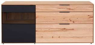 SIDEBOARD Kernbuche vollmassiv gebürstet, gewachst, lackiert, matt Anthrazit, Buchefarben - Anthrazit/Buchefarben, Design, Glas/Holz (185/81/49cm) - Valnatura