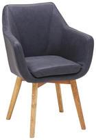 ARMLEHNSTUHL in Eichefarben, Grau - Eichefarben/Grau, Design, Holz/Textil (56/82/55cm) - Carryhome