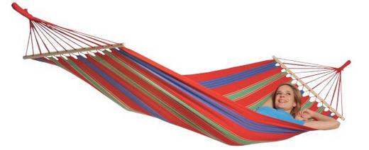 STABHÄNGEMATTE - Blau/Gelb, Basics, Holz/Textil (310/120cm)