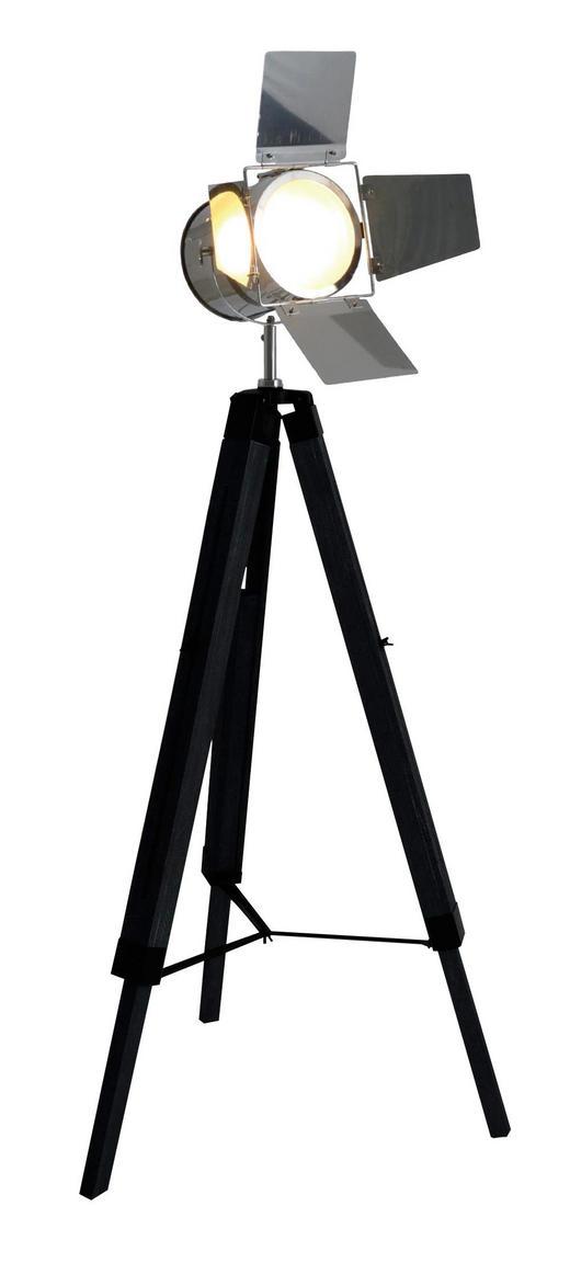 STEHLEUCHTE - Chromfarben/Schwarz, LIFESTYLE, Holz/Metall (100-140/56,5/71cm)