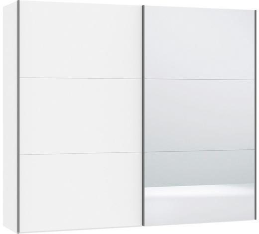SCHWEBETÜRENSCHRANK in Weiß - Silberfarben/Weiß, Design, Glas/Holzwerkstoff (252,8/220/65cm) - Jutzler