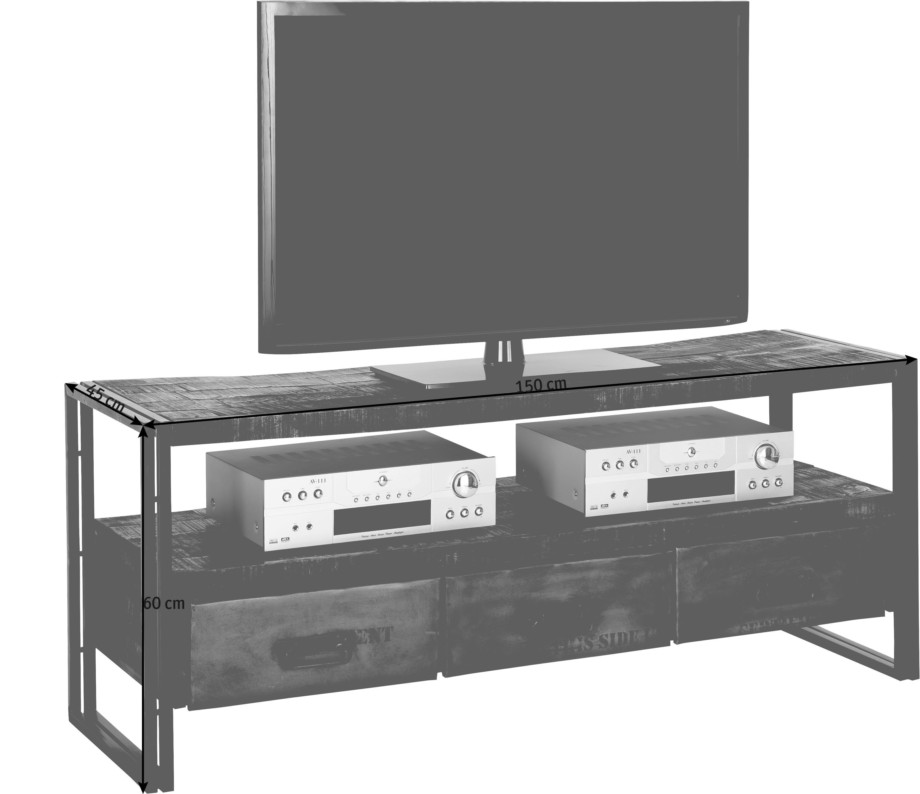 TV-ELEMENT in Braun - Braun, Design, Holz/Metall (150/60/45cm)