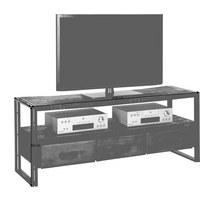 TV ELEMENT - smeđa, Design, metal/drvo (150/60/45cm) - AMBIA HOME