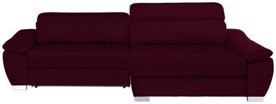 WOHNLANDSCHAFT in Textil Dunkelrot  - Silberfarben/Dunkelrot, MODERN, Kunststoff/Textil (270/175cm) - Carryhome