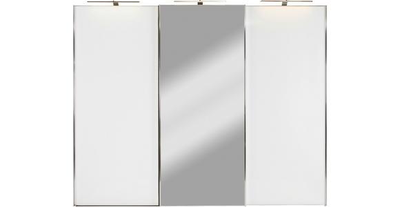 Schwebetürenschrank mit Spiegel 249cm Sonate Rom, Weiß Dekor - Weiß, MODERN, Holz/Holzwerkstoff (249/222/68cm) - Luca Bessoni