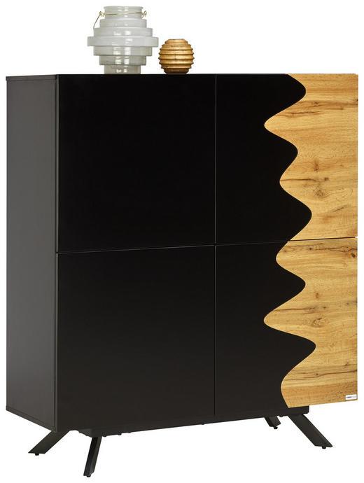 KOMMODE - Eichefarben/Schwarz, Design, Holzwerkstoff/Metall (107/122/41,5cm) - Carryhome