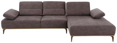 WOHNLANDSCHAFT in Braun Textil - Beige/Bronzefarben, Natur, Textil/Metall (298/178cm) - VALNATURA