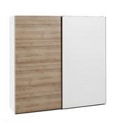 OMARA Z DRSNIMI VRATI, bela, hrast  - bela/hrast, Design, leseni material (250/220/67cm) - Hom`in