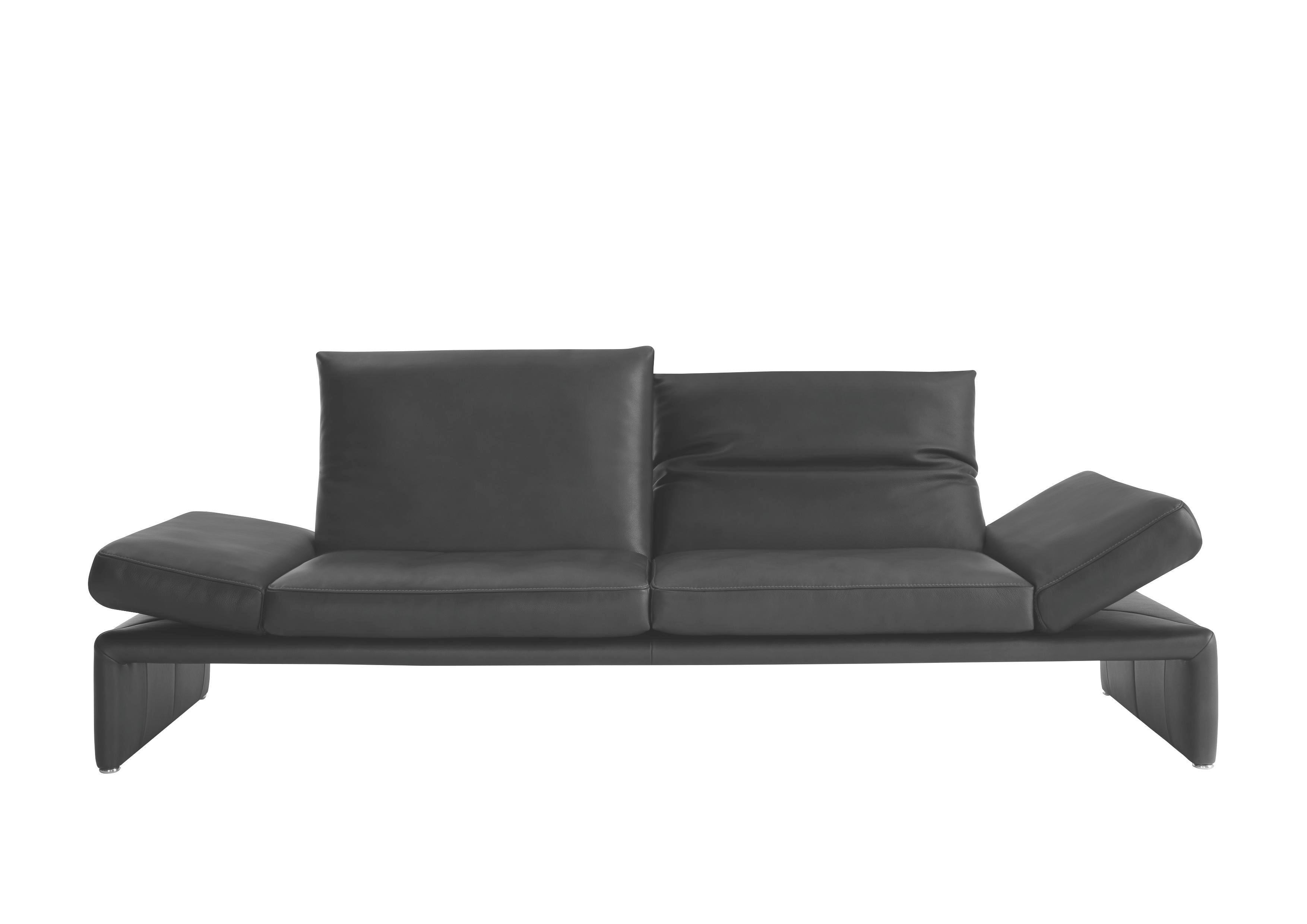SOFA Echtleder Schwarz - Schwarz/Alufarben, Design, Leder/Metall (206/73/92cm) - KOINOR