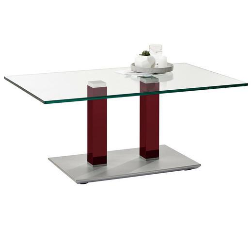 COUCHTISCH in Metall, Glas 110/70/46-65 cm   - Edelstahlfarben/Weinrot, Design, Glas/Kunststoff (110/70/46-65cm)