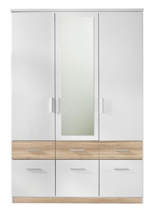 DREHTÜRENSCHRANK 3-türig Weiß, Eichefarben - Eichefarben/Alufarben, Design, Holzwerkstoff/Kunststoff (135/198/55cm) - Carryhome