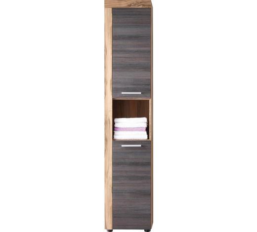 HOCHSCHRANK 36/184/31 cm - Dunkelbraun/Silberfarben, Design, Holzwerkstoff/Kunststoff (36/184/31cm) - Xora